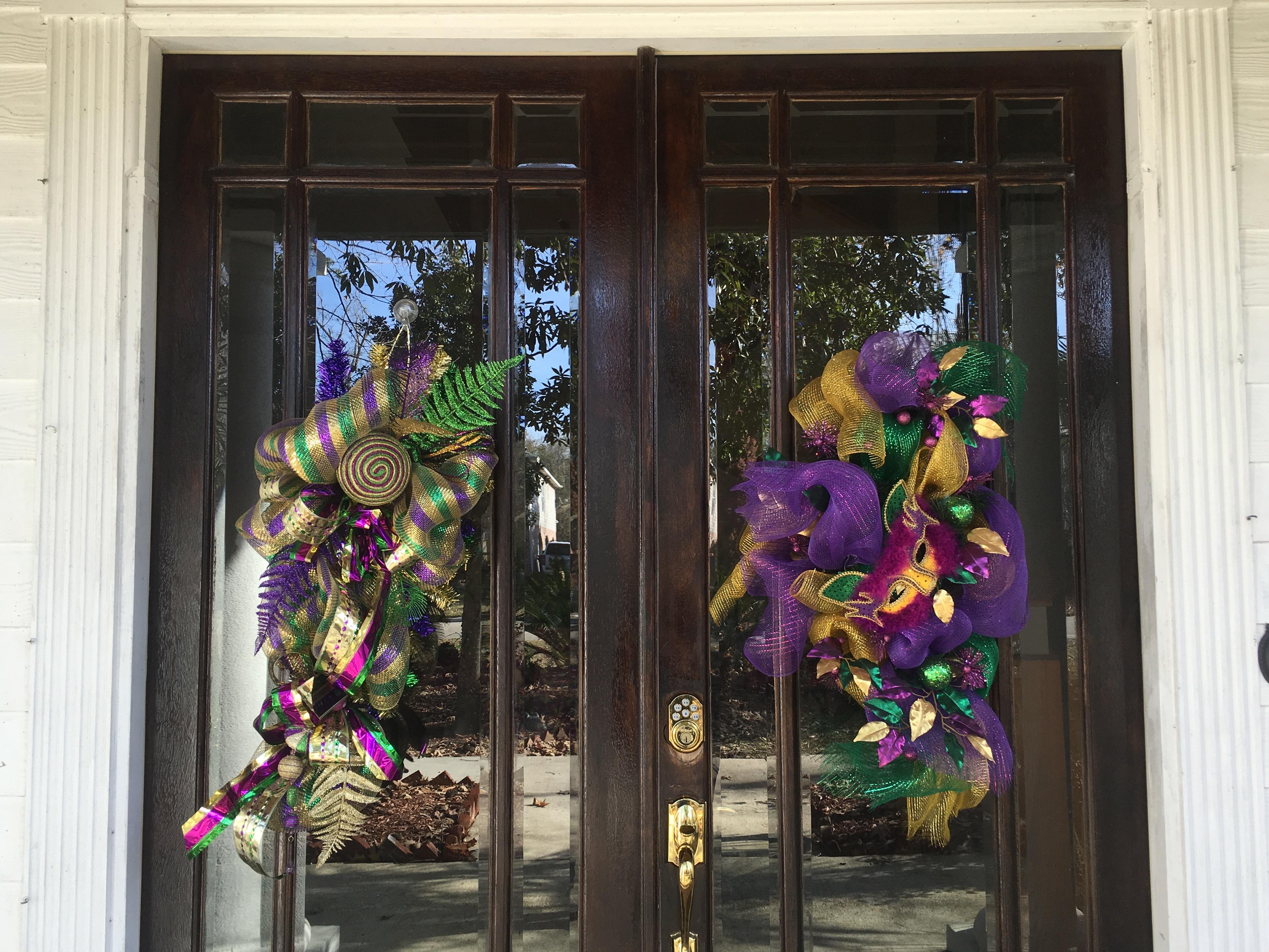 Mardi Gras door wreaths